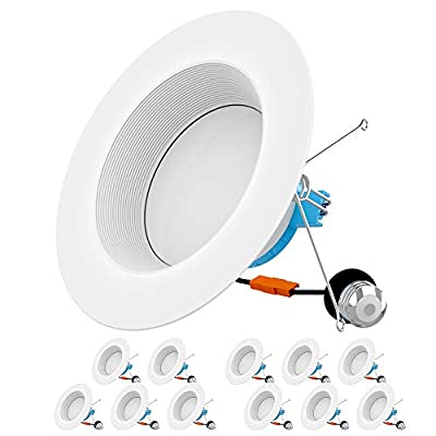HYPERLITE 12-Pack 5/6 Inch LED Recessed Downlight, Retrofit Recessed Lighting with Deepened Baffle Trim, 5000K Daylight, 15W=100W, 1050LM, CRI>90, Dimmable, ETL & Energy Star
