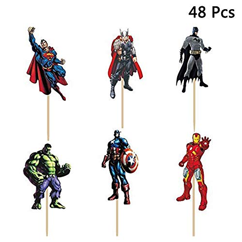 Micher 48 Unids The Avengers and Superheros Cupcake Toppers para Niños Fiesta de Cumpleaños Baby Shower Cake Suministros Decorativos