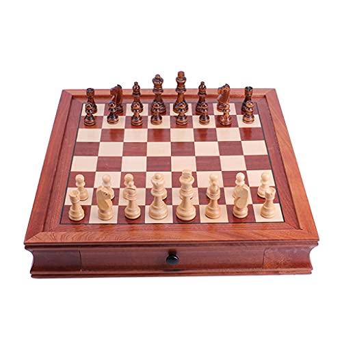 Juego de Ajedrez Conjunto de ajedrez internacional magnético de madera con almacenamiento de cajones Diversión Junta de juego Decoración Colletión de regalo creativo Juego de Mesa ( tamaño : 34cm )