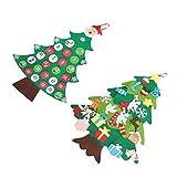 ABOOFAN クリスマスツリーアドベントカレンダーカウントダウンからクリスマスカレンダーdiyフェルトクリスマスツリーの壁掛けクリスマスギフト取り外し可能な装飾品吊り下げクリスマス2パック