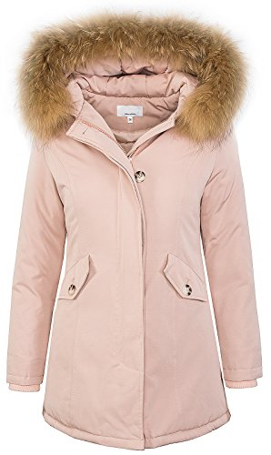 Rock Creek Selection Damen Echtfell Winter Jacke Parka Kapuze Designer Damenjacke Outdoor [D-204 - Rosa - Gr. L]