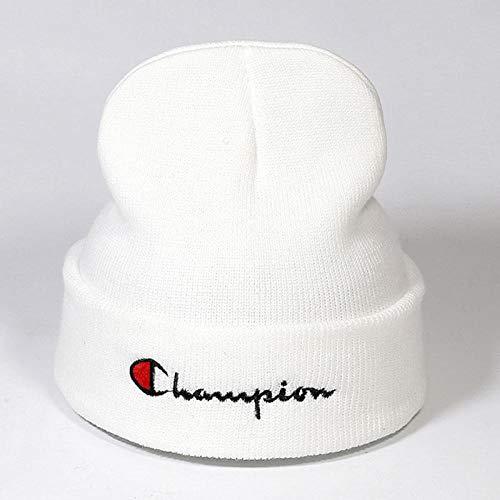 Maozim Strickmütze für Herren und Damen, für den Herbst und Winter, aus koreanischer Strickwolle, dicke und warme Strickmütze, Champion-Stickerei weiß, [Stretchy] size can be worn