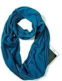 ELZAMA Infinity Loop Solid Color Scarf With Hidden Zipper Pocket For Women - Lightweight Travel Neck Wrap…