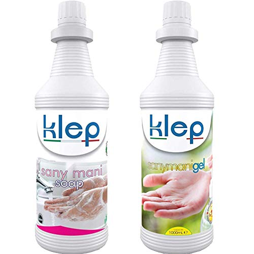 KLEP - Sany Mani Sapone 1 lt più Gel 1 lt lavamani igienizzante, detergente, sanificante, Antibatterico
