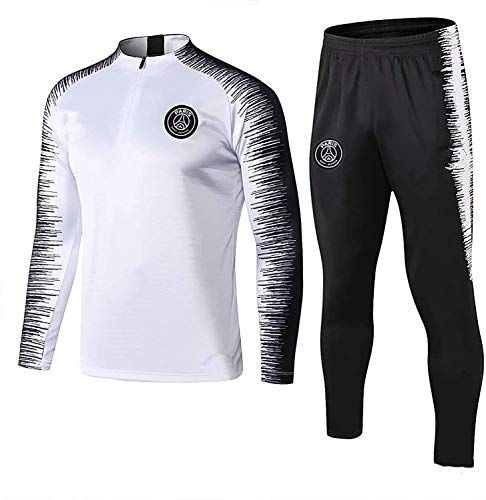 YXLD Paris Langarm-Sportbekleidung, Trainingsanzüge for Kinder Jugend Jogging Top & Pants Gym Kleidung Unisex Full Zip Trikot Trikots Teamswear Anzug (Color : White),XL
