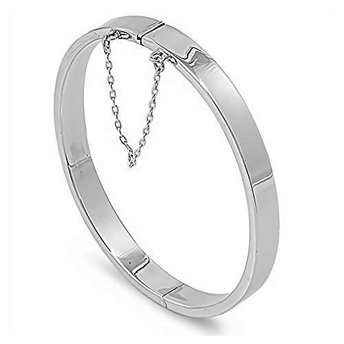 Gemlings Sterling Silber Armreif Armband [Ovales Rechteckrohr] | Schmuck für Frauen/Mädchen [7x55x60mm]