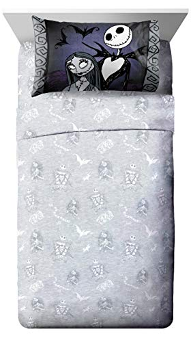 Disney Nightmare Before Christmas Meant To Be Twin XL Sheet Set - 3 Piece Set Super Soft and Cozy Kid's Bedding Features Jack Skellington - Fade Resistant Microfiber Sheets (Official Disney Product)