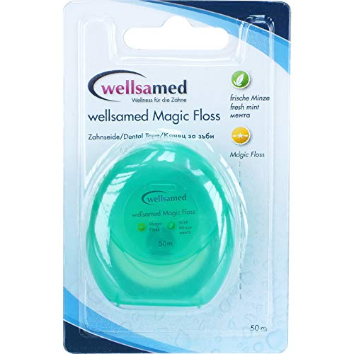 wellsamed Zahnseide MagicFloss, Flausch-Zahnseide, flauschige Zahnseide, Dental Floss, gewachst, Minzgeschmack, 50 m, 1 Stück