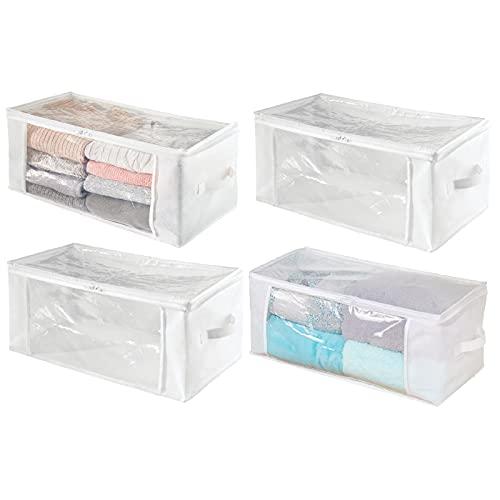 mDesign Set da 4 Organizer Box con Cerniera – Contenitore portaoggetti in polipropilene traspirante – Ideale per vestiti, biancheria da letto e coperte – bianco/trasparente