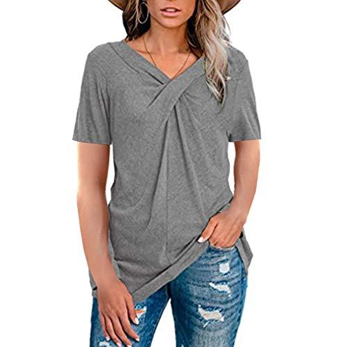 Camisetas de Manga Corta con Cuello en V Tops Blusa de túnica Informal de Verano Blusa para Mujer (Gris XXL)