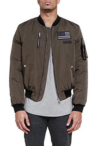 Bomberjacke Herren Tempelheim schwarz militär | Übergangsjacke Premium Streetwear (S, militär)
