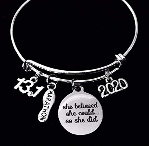 She Believed She Could 13.1 or 26.2 Marathon Jewelry Adjustable Bracelet Expandable Silver Charm Bangle Trendy Race Runner One Size Fits All Gift Birthstone Personalization Option