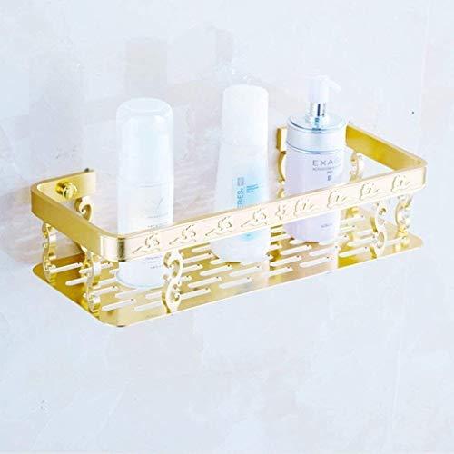 Badezimmerregale, Badezimmerregal Goldenes Wandregal für Badezimmer 1 Etage 310 mm * 50 mm * 150 mm quadratisches Aluminium-Badezimmer-geschnitztes Lagerregal
