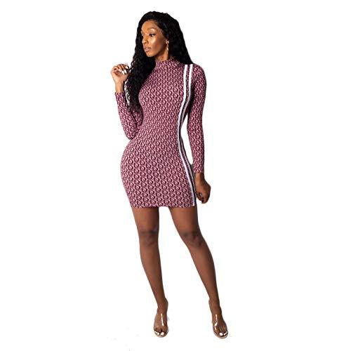 Damen Kleid große Marke High-End-Regular-Sleeve-Druck gerade Tribut hochelastischen Stoff rot XXL