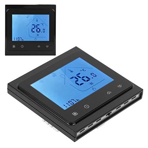 Cuque Suministros industriales, cómodo termostato, ABS, Flexible, fácil operación, PC, Conveniente, Alta precisión para el Sistema de Agua Caliente, Caldera(Black)