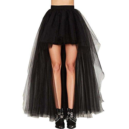 Faldas Mujer Verano Tallas Grandes Elegante Celebración Tamaño Largo Niñas Ropa Delantero Corto Tul Party Moda Woman Irregular Coctel Negro Falda