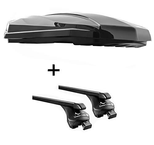 VDP dakbox Strike 440 liter zwart hoogglans + raildrager Quick compatibel met Ford Focus Active (5 deurs) vanaf 2019 aansluitende rail
