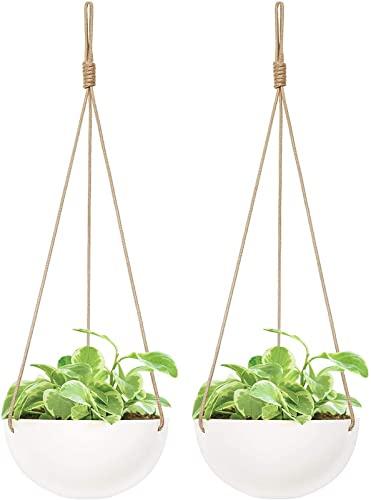 Mkono 9 Inch Ceramic Hanging Planter Indoor Outdoor Modern Round Flower Plant...