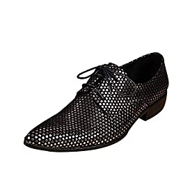 Black Formal Shoes Lace Up Style With 3D Sequins In Gold