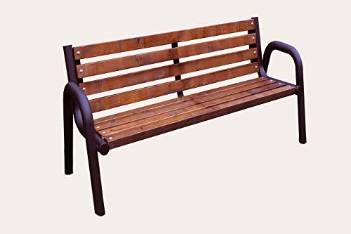 Sitzbank für Garten, Vorgarten, Stadt, Dorf, Gemeinde, Massiv und Robust, Holz Metall, Wetterfest, Stabil, Eigenmontage, Einfach und Schnell (Primario Palisander 150cm)