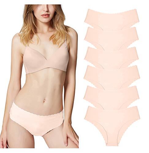 Misolin Damen Slips Nahtlos Unterwäsche Bikinis Taillenslips Seamless Unsichtbare Dehnbare Bequeme Panties Hipsters 6 Pack Beige XS
