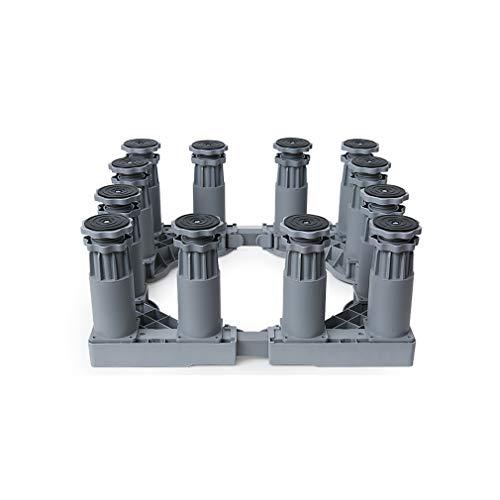 Base Lavadora Secadora Bandeja de base de Lavavajillas Universal Refrigerador Multifuncional Soporte Ajustable 43.5 cm-59cm Heightening Cocinas Base 4/8/12 Pies Carga: 400 Kg (Gris)