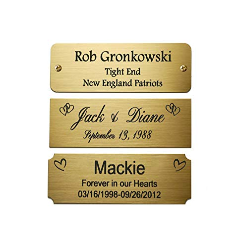 Size: 3 W x 1 H, Personalized, Custom Engraved, Brushed Gold Solid Brass Plate Picture Frame Name Label Art Tag for Frames, with Adhesive Backing or Screws - Indoor use only, Made in USA