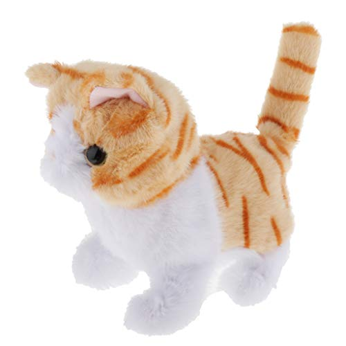 perfeclan Elektronische Plüschkatze Kuscheltiere Katze mit Funktion Intelligentes Spielzeug Stofftier für Kinder Junge Mädchen - Garfield