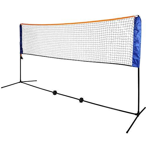 NOBLJX 5 m Badmintonnetze, tragbares faltbares Tennisnetz, verstellbares Volleyballnetz mit Ständer, 6 Badmintons und Tragetasche, Internationaler Standard Large