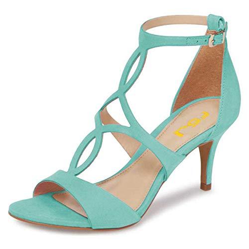 FSJ Women Strappy Ankle Strap Sandals Open Toe Kitten Low Heels Caged Cutout Fashion Shoes Size 8 Turquoise