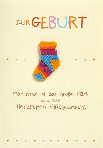 Karte zur Geburt Lifestyle - Karte zur Geburt Socke, 11,6 x 16,6 cm