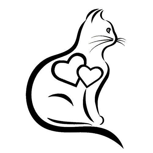 A/X Pegatina de Vinilo de corazón de Gato de 16x11 4 cm Pegatina de Moda Interesante Pegatinas Accesorios para Coche-Blanco