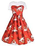 WZhen Panel De Malla Lindo Vestido De Fiesta De Renos De Navidad - Rojo L