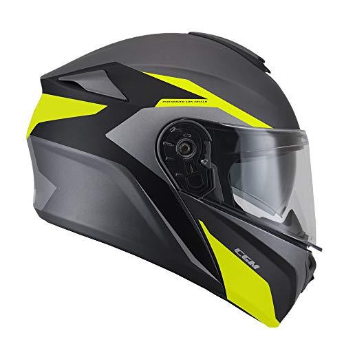 CGM ALV-19 mat () helm omkeerbaar (DRESDA Pinlock) binnenbroek extra rook grijs XL Neon geel