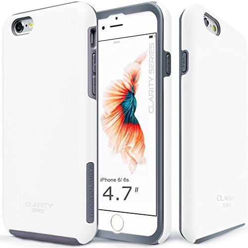 TEAM LUXURY [Clarity Series] Case for iPhone 6 & 6s, Ultra Defender Shock Absorbent Slim-fit Premium Protective Phone Case - Cotton White/Gray