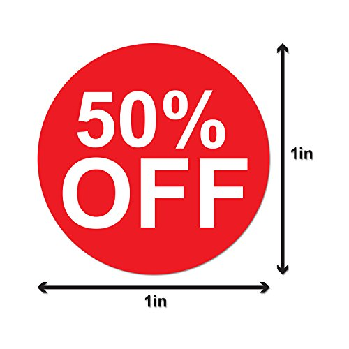 """Garage Yard Sale Price Stickers Labels [50% Percent Off] for Retail Store Clearance PromotionDiscount Deals Circle Pricemarker Half Off Labels Stickers (Red and White / 1"""") - 300 Labels per Package Photo #2"""