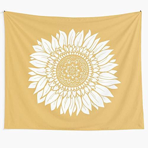 AdoDecor Wandtapijt Mandala Indiase zonnebloem wandtapijt muur opknoping gele zonnebloem bloemen Bohemian strandlaken…