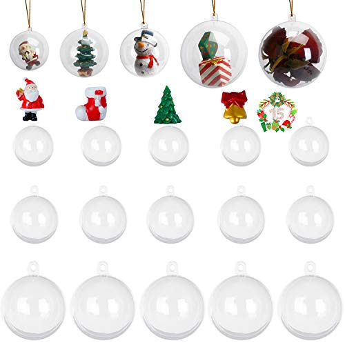 KATELUO 15 Pezzi Palline Natale Trasparenti,Palline Trasparenti Plastica,Ornamento di Palline Natalizie,Decorazione Albero di Natale,per Arte Sospesa Fai da Te,per la Decorazione Domestica