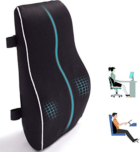 Lumbar Support Pillow for Office Chair Car Memory Foam Back Cushion for Back Improve Posture Large Back Pillow for Computer, Gaming Chair, Recliner with Mesh Cover Double Adjustable Straps