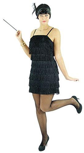 Foxxeo Vestido Negro de los años 20 para Mujeres Elegante Disfraz de Charleston para Carnaval, Talla: XXL