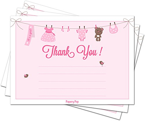 30 Baby Shower Thank You Cards for Girls with Envelopes (30 Pack) - Baptism or Baby Shower Thank You Notes - Fits Perfectly with Pink Baby Shower Invitations, Supplies and Decorations