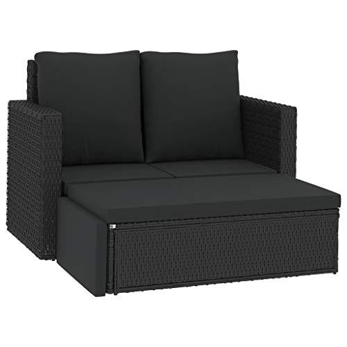 vidaXL Gartenmöbel 2-TLG. mit Auflagen Lounge Set Sitzgruppe Garten Sofa Couch Ottomane Hocker Rattanmöbel Gartensofa Poly Rattan Schwarz