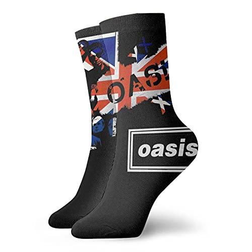 Oasis Band Music Logo UK Flagge Liam Gallagher Noel Classic Freizeit Sport kurze Socken 30 cm geeignet für Damen und Herren