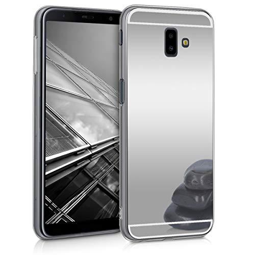 kwmobile Funda Compatible con Samsung Galaxy J6+ / J6 Plus DUOS - Carcasa Protectora Trasera de TPU para móvil en Plateado con Efecto Espejo