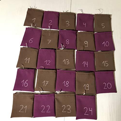 Adventskalender zum Befüllen mit Zahlen von 1-24, 24 Stoffsäckchen