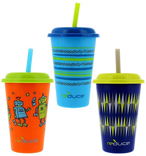 Reduce GoGo's, 3 Pack Tumbler Set – 12oz Kids Cups with Straws and Lids – This Dishwasher Safe Toddler Cup is BPA Free – Mix and Match, 3 Fun Designs – An Ideal Kids Smoothie Cup