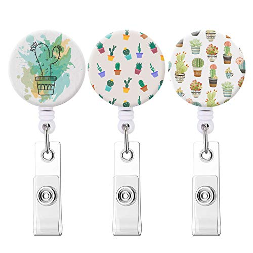 Badge Reel, Retractable ID Card Badge Holder with Alligator Clip, Name Decorative Badge Reel Clip on Card Holders (Cactus / 3 Pack)
