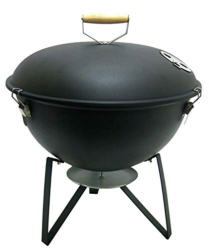 Fabrilla Kettle Oval Charcoal Barbeque Grill Set (Black)