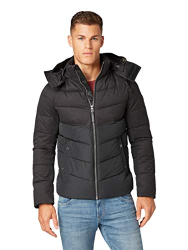 TOM TAILOR Herren Kapuzen Puffer Jacke, Schwarz (Black 29999), M