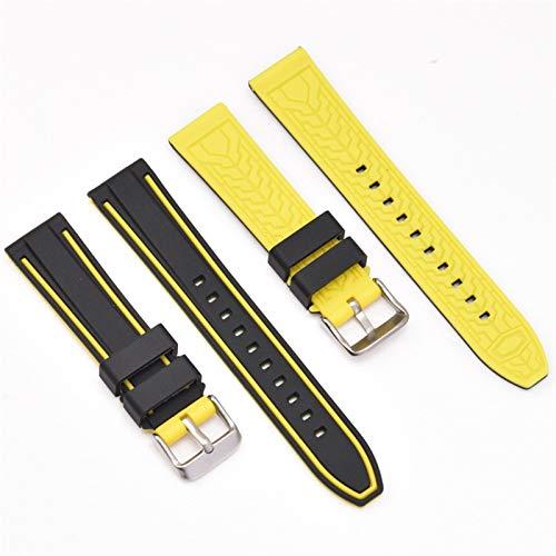 DFKai1run Correa de Silicona, Correa de reemplazo de Goma Suave de Silicona - Colores múltiples de 20 mm, 22 mm, 24 mm, 26 mm de Reloj Selección Multicolor (Color : Yellow, Size : 26mm)